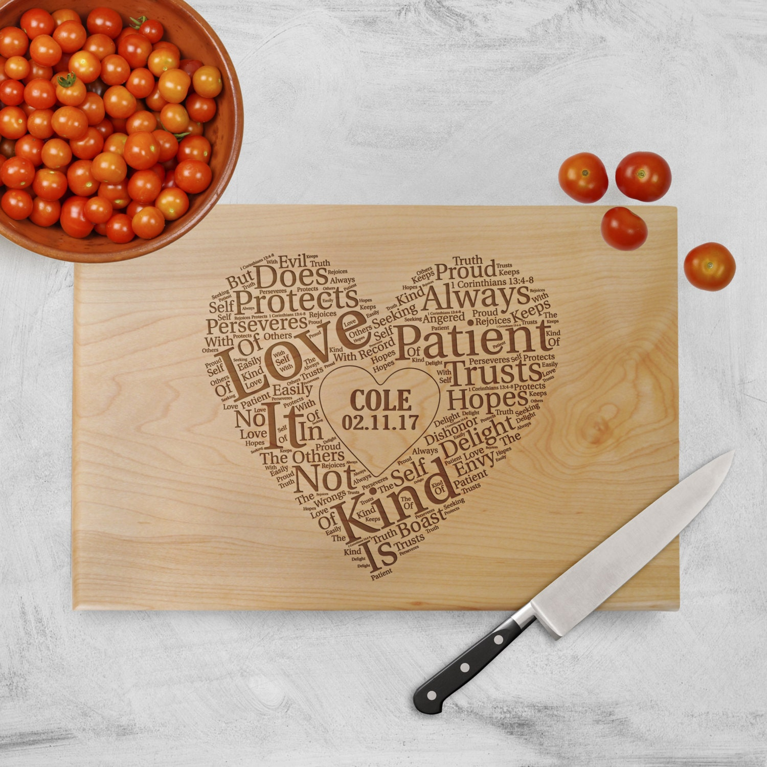 One Of A Kind Wedding Gifts: Cutting Board Wedding Gift Love Is Patient Love Is Kind