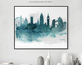 London Artwork Wall Art Poster Skyline Art Print London Watercolor Cityscape Wall decor Gift Travel, iPrintPoster