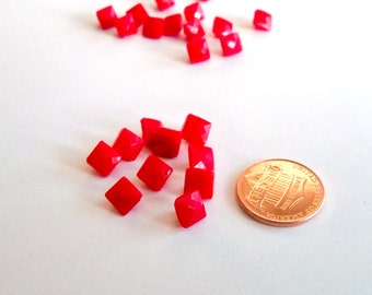 Set of Tiny Vintage Square Red Faceted Glass Buttons