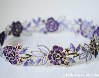 Purple Sash, Purple Flower Belt, Purple Flower Wedding Sash, Lace Wedding Belt, Bridal Belt, Satin Sash, Lilac Belt, Prom Belt, Wedding Gift