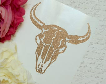 Steer Skull Glitter Vinyl Decal, Sparkly Car Laptop Decal, Tumbler Decal, Cow Skull