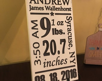 Baby Stats Signs,  Custom Nursery Decor