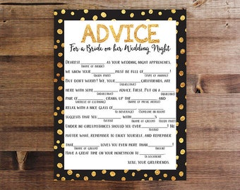 Dirty Mad Lib | Bachelorette Party Game | Advice for the Bride | Wedding Madlib | Bachelorette Party | Lingerie Party | Printable Game |Gold