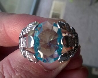 Men's March Birthstone Aquamarine, gold filled setting, size 12