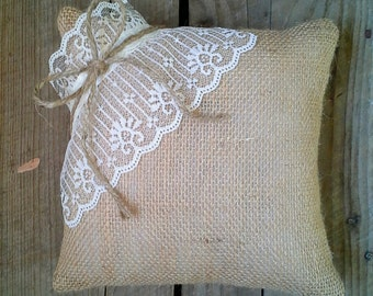 """8"""" x 8"""" Natural Burlap Ring Bearer Pillow w/ Lace & Jute Twine- Rustic/Country-Shabby Chic-Rustic Chic-Vintage Inspired-Natural"""