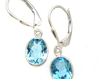 Genuine Blue Topaz Gemstone Earrings Sterling Silver Gift for Her Lever Backs Sparkling Earrings Real Blue topaz Gemstone Jewelry Blue Topaz