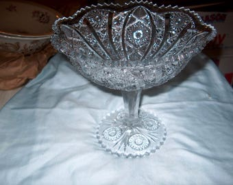 Antique Vintage Pressed Glass Compote
