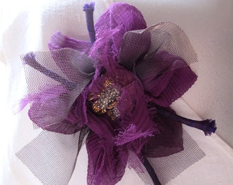 Brooch, Fabric, Fiber, With Bead Work, Purple, Vintage