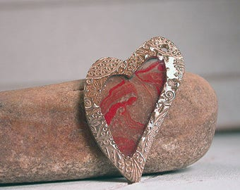 Bronze Metal Clay Heart Charm Pendant with Paper and Resin Divine Spark Designs SRA