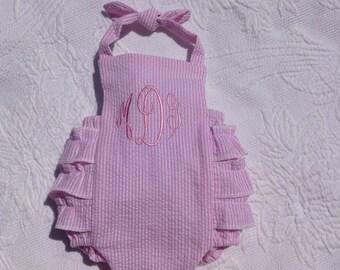 Ruffle Baby Bubble, FREE MONOGRAM, rumba sunsuit, newborn to 24 mos, halter, ruffles, romper, sunsuit, Classic, toddler, made in the USA