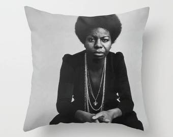 Nina Simone Decorative Pillow, Square pillow with\ without zipper