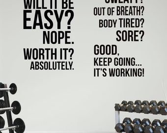 2 Large Home Gym Motivational Wall Decal Quotes Fitness Exercise. Great Savings.