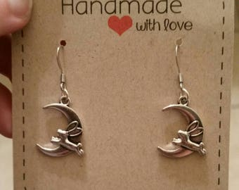 Bunny rabbit going over the moon dangle earrings with Stainless steel hooks