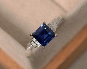 Sapphire ring,sterling silver, September birthstone, promise ring for her, square cut