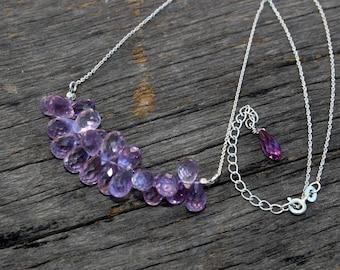 Pink Amethyst Gemstone Cluster Necklace / 925 Sterling Silver Necklace / Gemstone Necklace / Teardrop Cluster Necklace / February Birthstone