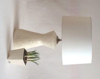 Ceramic Lamp. White Ceramic Lamp. White Table Lamp. Modern Pottery Lamp.  Gray