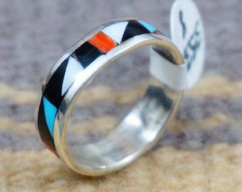 Zuni Multi Stone Geometrical Inlay Full Wrap Ring Bands by R.Lalio -Item # 553K