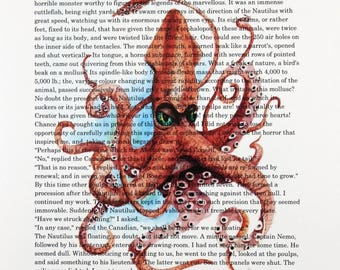 Jules Verne Twenty Thousand Leagues Under the Sea Art Print Giant Squid Watercolor 8.5 X 11 by Barry Singer