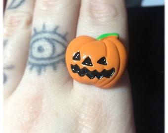 Punpkin Jack-O-Lantern Adjustable Ring
