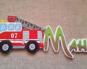 fire truck - choose name door plaque