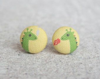 Dragons Fabric Button Earrings