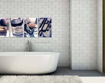Chanel Bathroom wall decor/set of 4 prints/makeup photography/canvas art/bathroom art/large wall art/Chanel decor personalized wall decor
