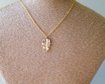 Blatt-Halskette, herbstliche Halskette, Gold über Messing, Messing-Kette, skulpturale Halskette, Halskette, Halskette, Etsy fallen