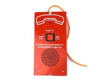vintage. telephone. vintage telephone. phone. vintage phone. box. home decor. industrial. industrial decor. office. decor. red. intercom.