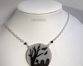 Subscription Box Special- Gothic Graveyard Scene Necklace