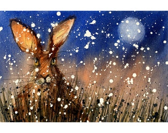 Christmas Hare First Snow, Signed Print of a Watercolour Painting