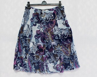 Women's vintage summer midi skirt with lining stretchy blue purple pattern