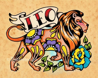 Zodiac Tattoo Art LEO Lion Astrology Print 5 x 7, 8 x 10 or 11 x 14