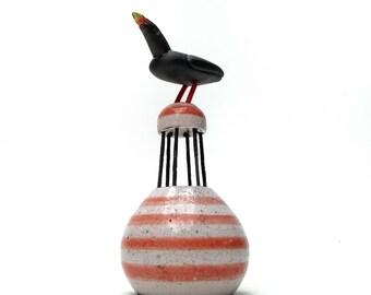 Raku Sculpture - Bird on Buoy