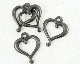 Heart Charm - TierraCast JUBILEE HEART Pendant Black Oxide Gun Metal Gunmetal Charms for Valentine's Day Jewelry Making Craft Supplies P1179