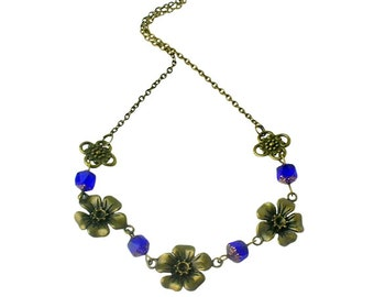 Brass flower charms necklace, Cobalt blue beaded necklace, Victorian brass jewelry