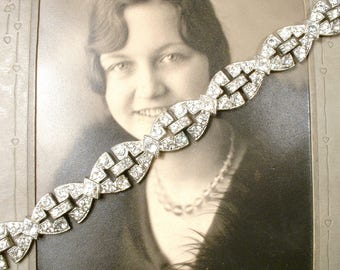1930's Antique Art Deco Bracelet, French Paste Pave Rhinestone WIDE Link Statement Silver 1920s Wedding Gatsby Flapper Vintage Bridal