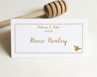 50 Personalised Honey Bee Wedding Place Cards. Place Settings