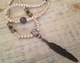 Boho Gypsy Beaded Necklace 108 Mala Meditation Beads with Feather Pendant