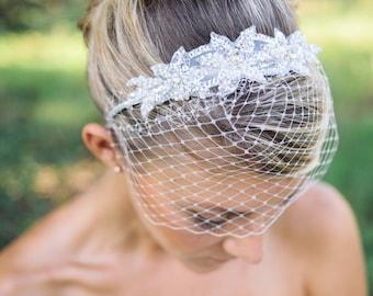 wedding veils, Birdcage veil headband with beaded applique - Pela