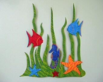 Metal Wall Sculpture Sea Garden Ocean Art Wall Hanging Tropical Fish Decor Seahorse Starfish  Beach Coastal Colorful Whimsical 13 x 15