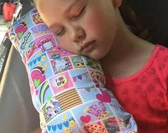 Shopkins Seat Belt Pillow, Girls Travel Pillow, Booster Seat Pillow