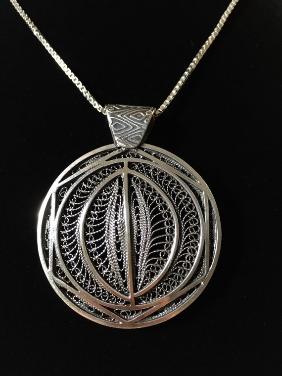 Silver oxidized filigree round pendant shapes and designs mozeypictures Gallery