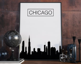 Chicago, Skyline, City Skyline, Chicago Poster, Art,  Home Decor, Chicago Wall Art, Print, Art Print, Printable art, Gift, Digital Download