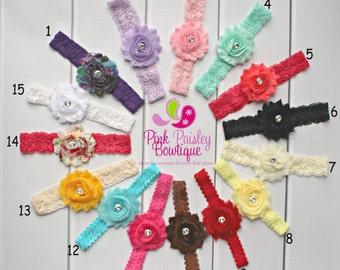 You Pick 1 Shabby Baby Headbands. Newborn Headbands. Baby Hair Accessories. Toddler Headbands. Infant Headbands. Baby Bows. Baby Hairbows