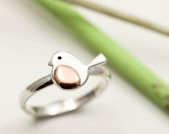 Robin Ring - Sterling Silver & Copper Robin Redbreast Ring - Robin Jewellery