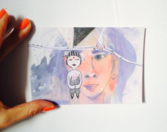 Fine art postcards INDIAN DREAMS DINA6 made from recycled paper