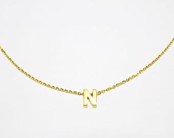 Initial Necklace PREORDER - Name Necklace - Name Choker - Name Necklace - Gold Choker - Gold Necklace - Gold Chain Choker Necklace