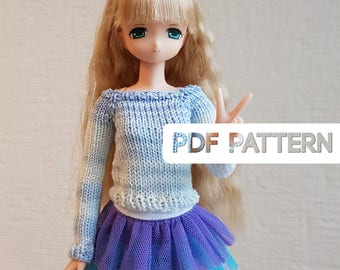 Katia Sweater PDF Knitting pattern for Azone PureNeemo, Pullip, Blythe and other similar 1/6 scale dolls