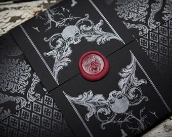 Victoriana Gothica Halloween Letterpress Wedding Invitation Suite (SAMPLE)