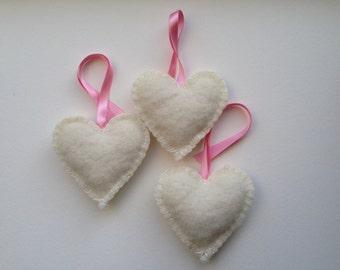 Hearts nursery decoration, felt, white pink ribbon, 3 hearts